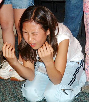 Korean girl cries